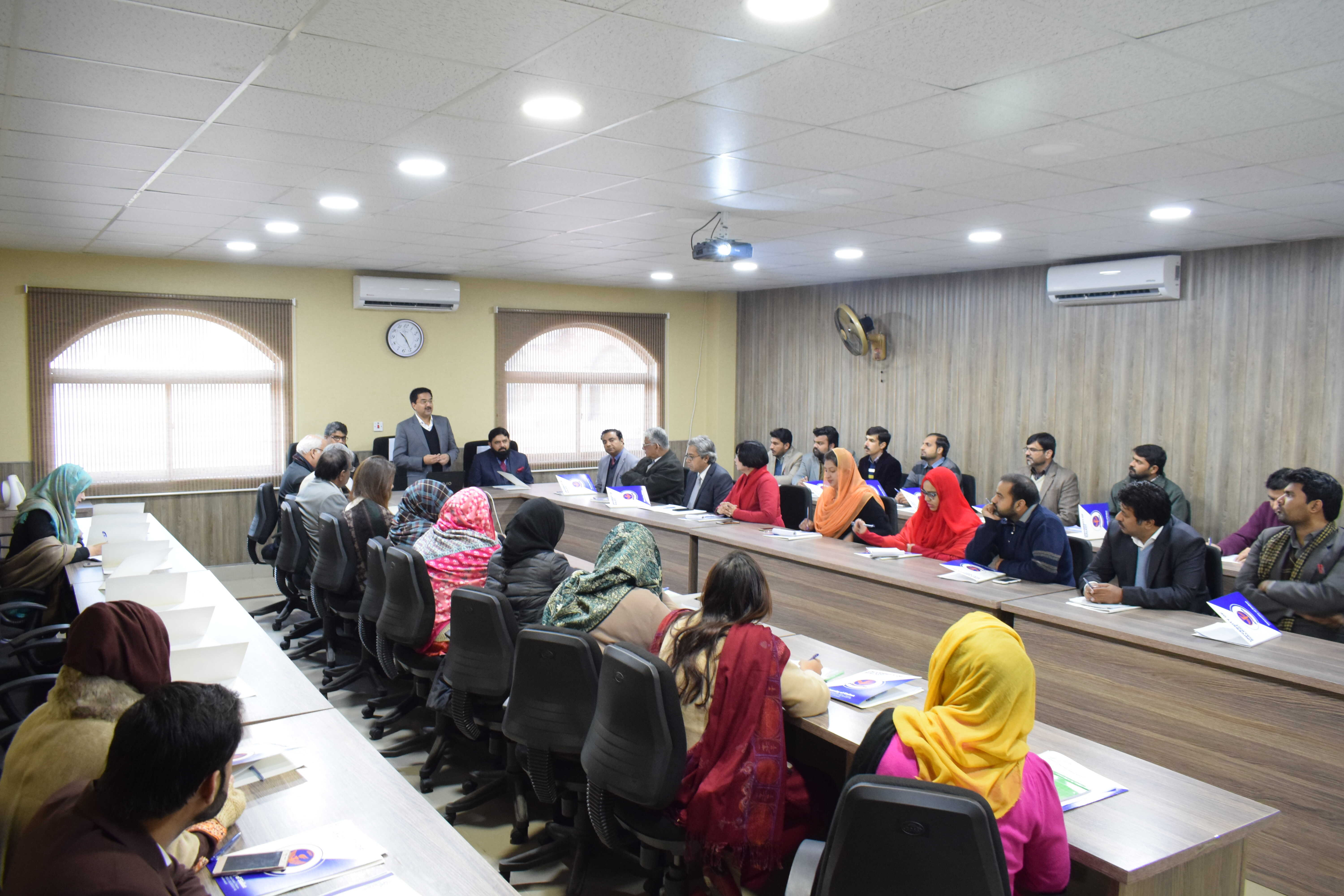Quality Enhancement Cell (QEC) of USKT conducted a training session on Institutional Performance Evaluation. The guest speaker was Dr. Syed Ul Hassan Chishti, Director QEC, International Islamic University, Islamabad. Deans, HODs and Faculty members participated in the session.