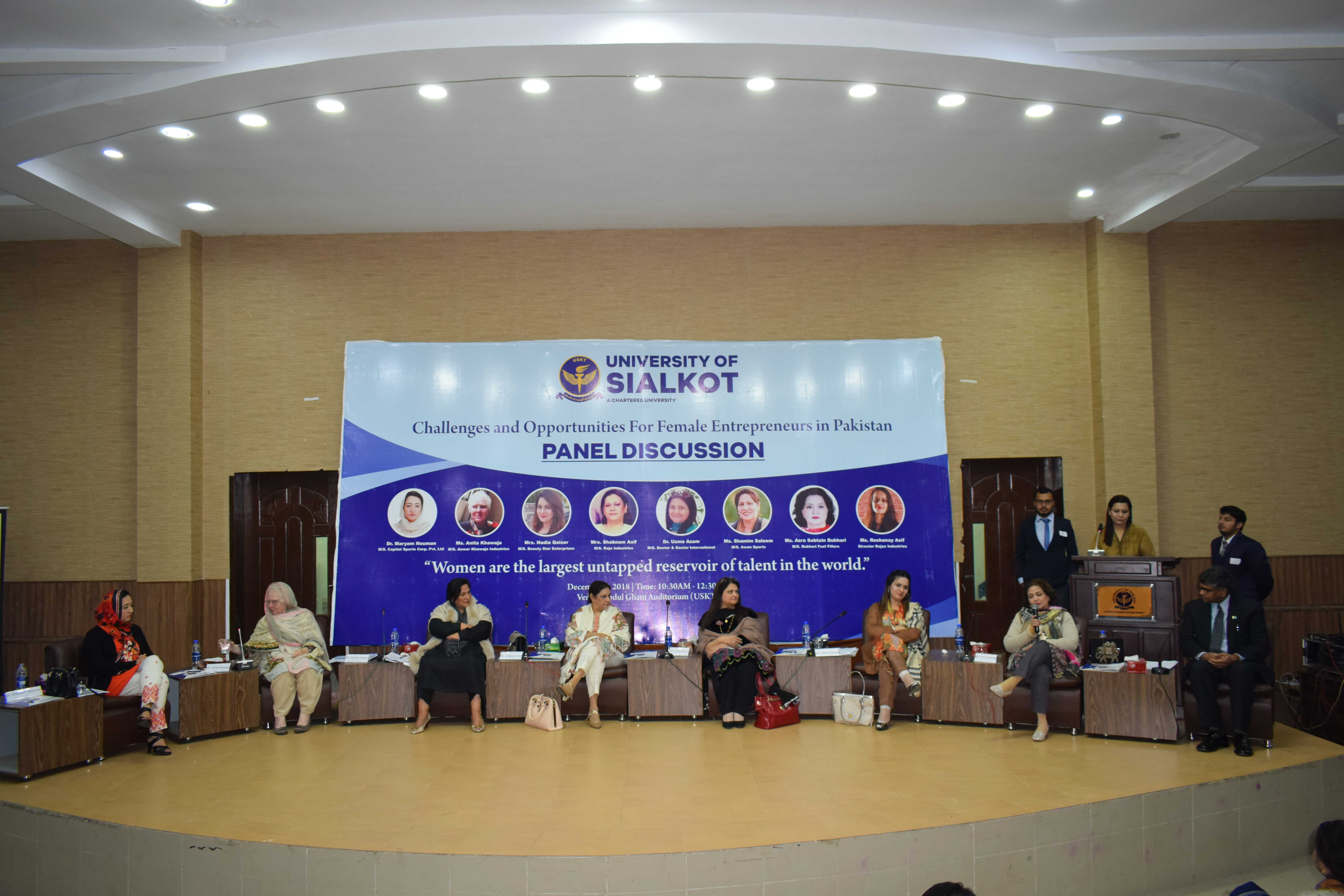 A Panel Discussion organized by University of Sialkot and the group of women entrepreneurs graced the event as the guest speakers. According to the agenda of the talk, they threw light on the opportunities for females and the working organizations under their successful leading roles.